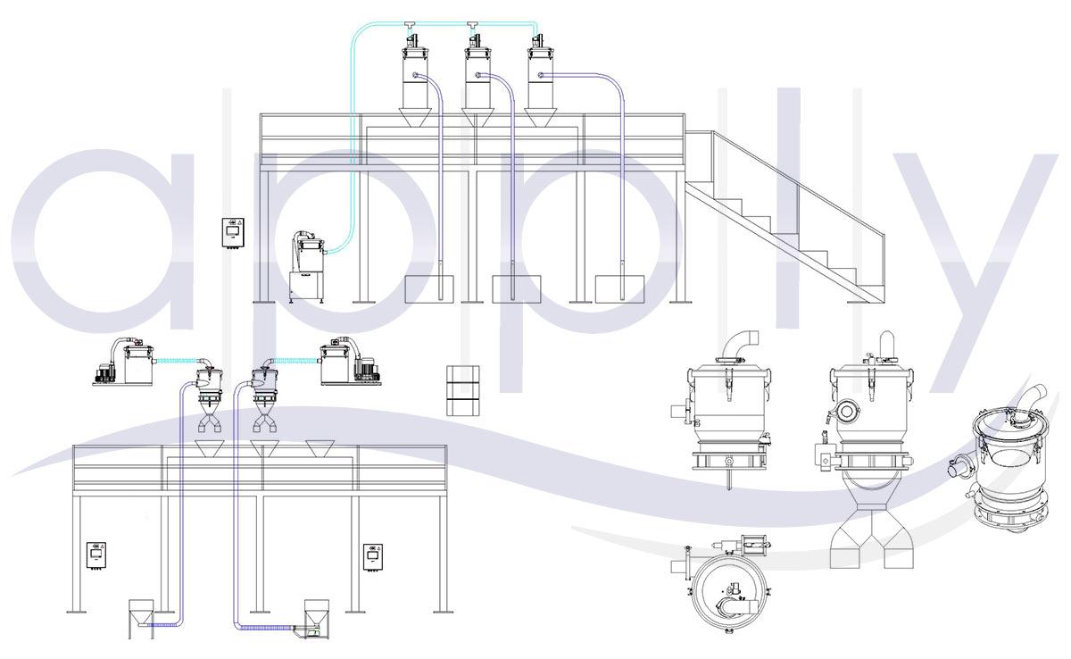 trasporto-pneumatico-mandorle-zucchero - disegni-tecnici
