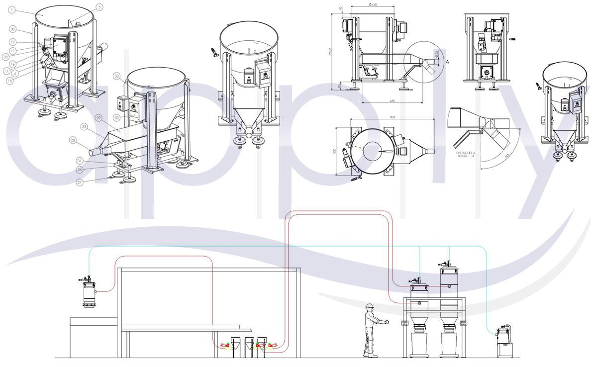 Disegni tecnici del sistema e del canale vibrante