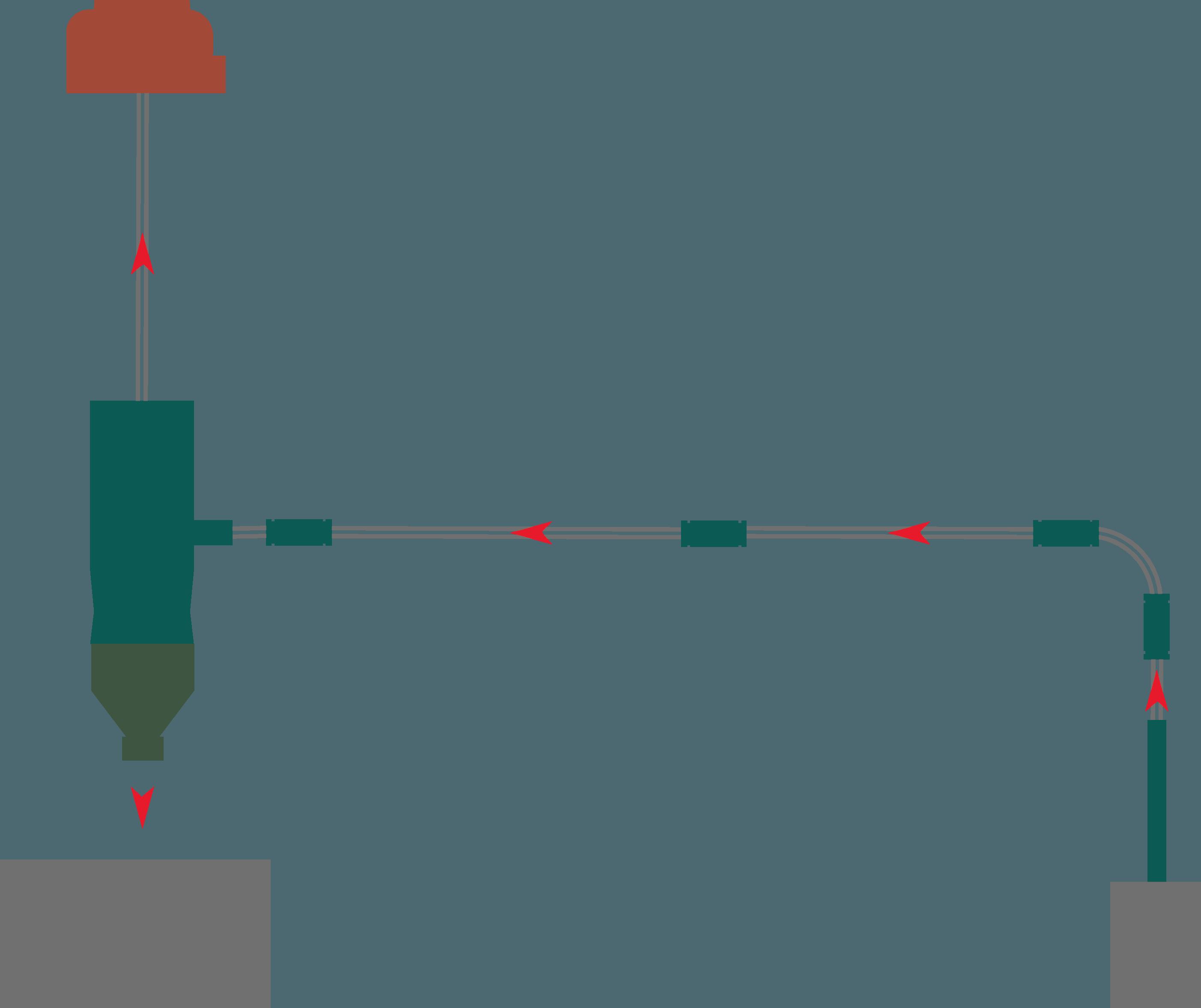 Schema trasporto pneumatico in depressione